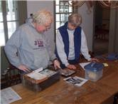 Archeaology professor Dr. Ken Feder with BHS volunteer Linne Landgraf